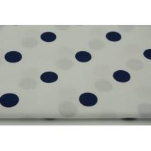 Bawełna 100% granatowe kropki 17mm na białym tle