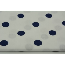 Cotton 100% navy polka dots 17mm on a white background