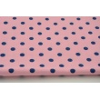 Cotton 100% navy polka dots 7mm on a pink background (middle pink)