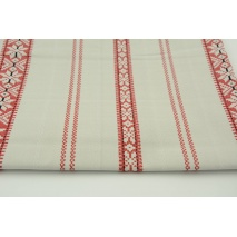 Cotton 100% Scandinavian red pattern on beige-gray background