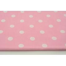 Bawełna 100% kropki 17mm na różowym tle