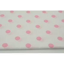 Cotton 100% pink polka dots 17mm on a white background