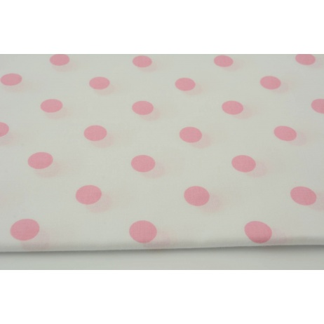 Bawełna 100% różowe kropki 17mm na białym tle