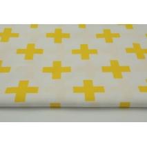 Bawełna 100% żółte krzyżyki, plusiki na białym tle