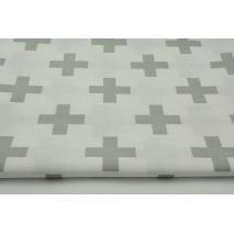Bawełna 100% jasnoszare krzyżyki, plusiki na białym tle