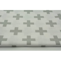 Cotton 100% light gray crosses, pluses on a white background