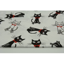 Cotton 100% black and white cats with red bow-ties on a white background