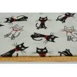 Bawełna 100% biało-czarne koty z czerwonymi muszkami białym tle