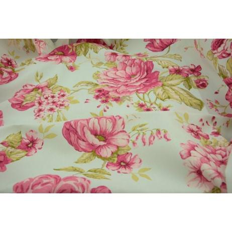 Kwiaty różowo, czerwono, zielone na miętowym tle, szerokość 280 cm