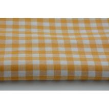 Bawełna 100% żółto-pomaranczowa kratka vichy, dwustronna 1cm
