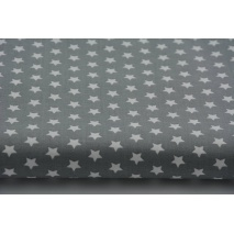 Bawełna gwiazdki białe 1cm na szarym tle