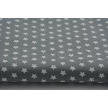 Cotton 100% 1cm white stars on a gray background
