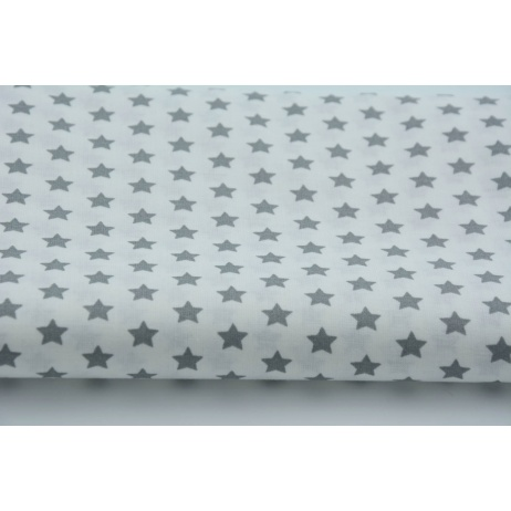 Cotton 100% 1cm gray stars on white background