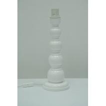Duża lampka drewniana kulista biała