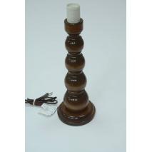 Duża lampka drewniana kulista brązowa