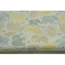 Bawełna 100% szaro, żółto beżowe słonie na białym tle