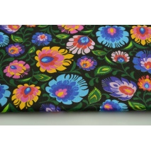 Cotton 100% folk pattern on a black background