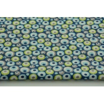 Bawełna 100% limonkowo - granatowe pawie oczka