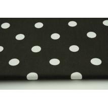 Bawełna 100% kropki 17mm na czarnym tle