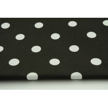Cotton 100% polka dots 17mm on a black background