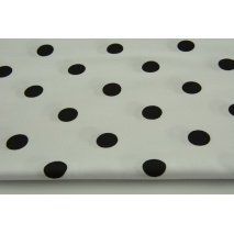 Cotton 100% black polka dots 17mm on a white background