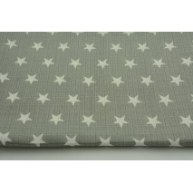Bamboo muslin in creamy star 2cm on a gray background