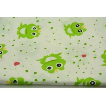 Bawełna 100% zielone żaby i serduszka na białym tle