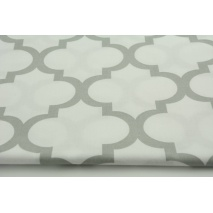 Cotton 100% light gray moroccan trellis on a white background