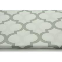 Cotton 100% light gray moroccan trellis on a white background