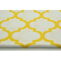 Cotton 100% yellow moroccan trellis on a white background