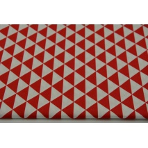 Cotton 100% small red triangles on a white background