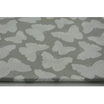 Bawełna 100% motylki + kropki na szarym tle