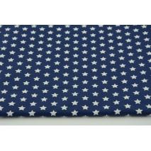Bawełna gwiazdki białe 1cm na granatowym tle