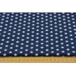 Cotton 100% 1cm white stars on navy background