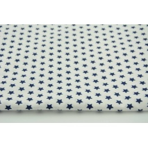 Cotton 100% 1cm navy stars on white background