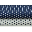 Cotton 100% 1cm navy stars on white background