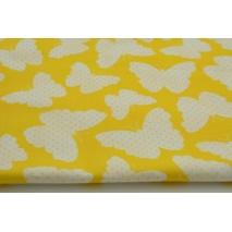 Bawełna 100% motylki + kropki na żółtym tle