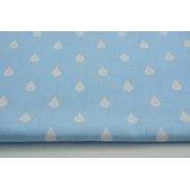 Bawełna 100% białe krople, kropelki na niebieskim tle