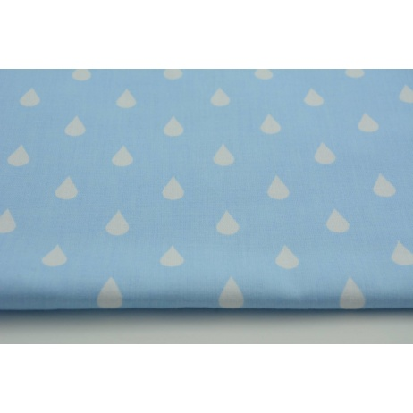 Cotton 100% blue polka dots 17mm on a white background