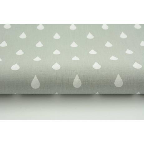 Bawełna 100% białe krople, kropelki na jasnoszarym tle