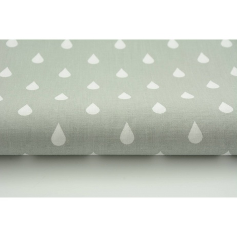 Cotton 100% white rain drops, droplets on a gray background