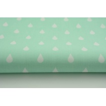 Cotton 100% white rain drops, droplets on a mint background
