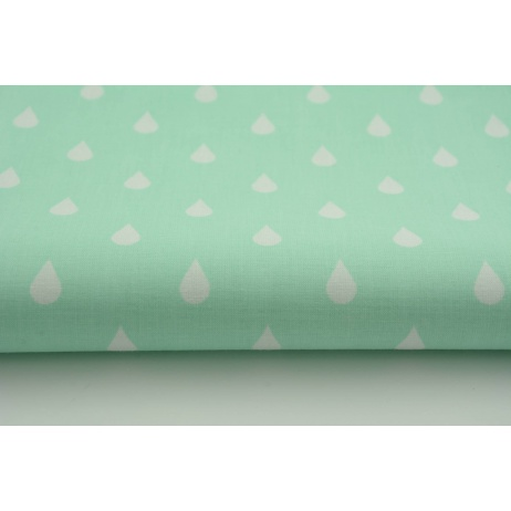 Cotton 100% white rain drops, droplets on a mint background