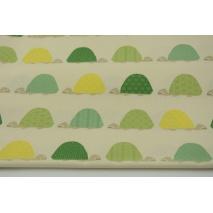 Bawełna 100%, kolorowe żółwie na kremowym tle