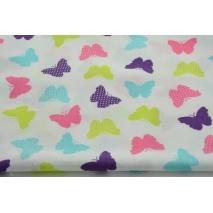 Bawełna 100% pastelowe, kolorowe motylki na białym tle