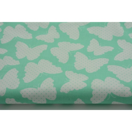 Cotton 100% butterfly + dots on a mint background