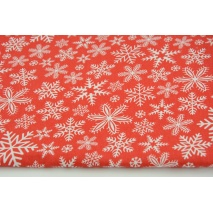 Cotton 100% snowflakes on a red background