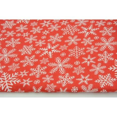 Bawełna 100% płatki śniegu na czerwonym tle