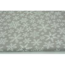 Bawełna 100% płatki śniegu na szarym tle