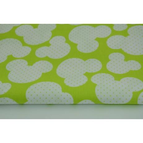 Bawełna 100% myszki + kropki na limonkowym tle
